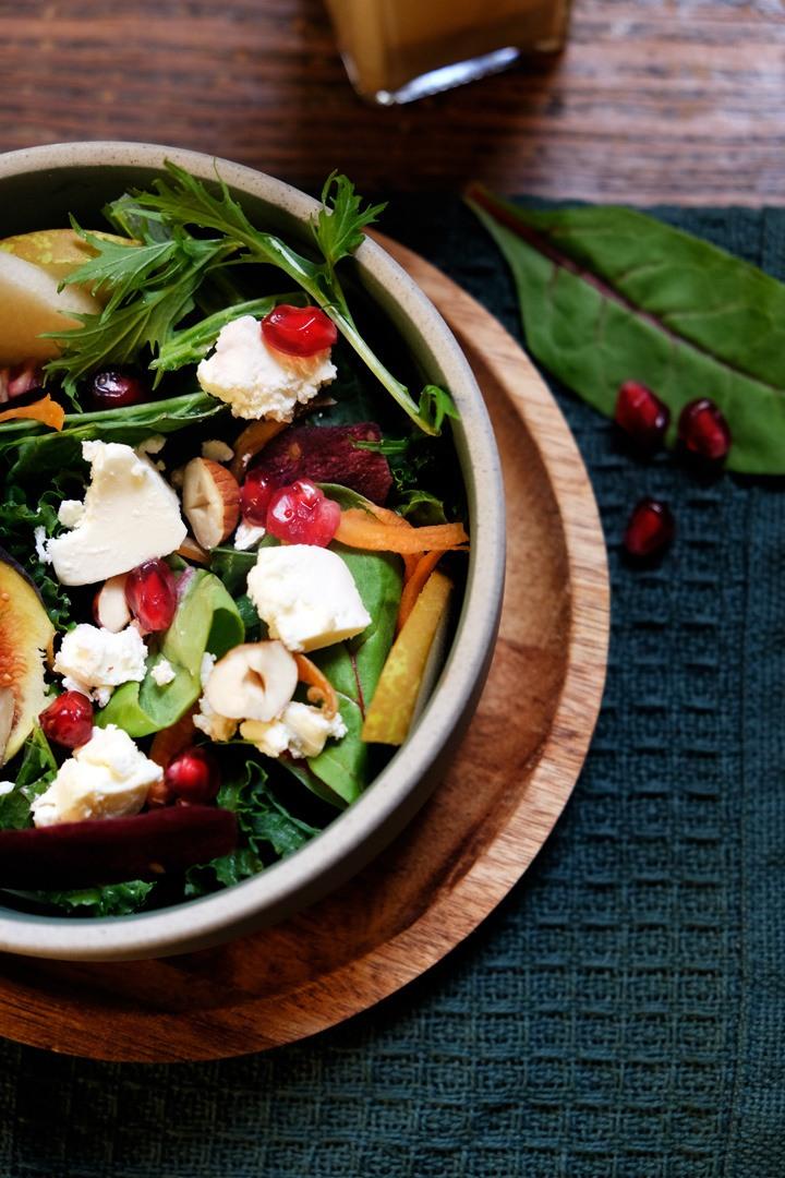 Rezept Wintersalat mit Wildkräuter, Ziegenfrischkäse und Feige