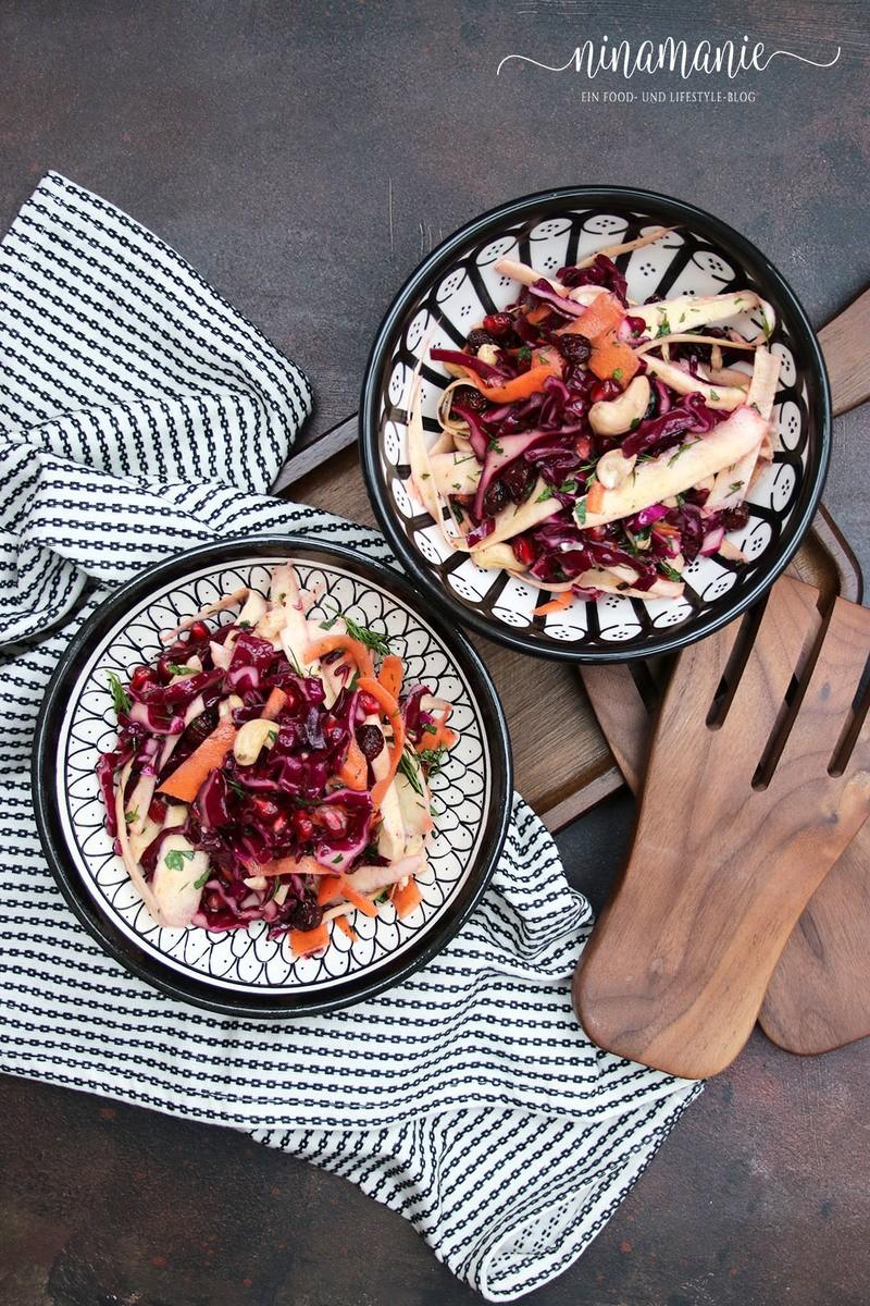 "Rezept Wurzelgemüse-Salat mit Granatapfelkernen aus dem Kochbuch ""Vegetariana"""