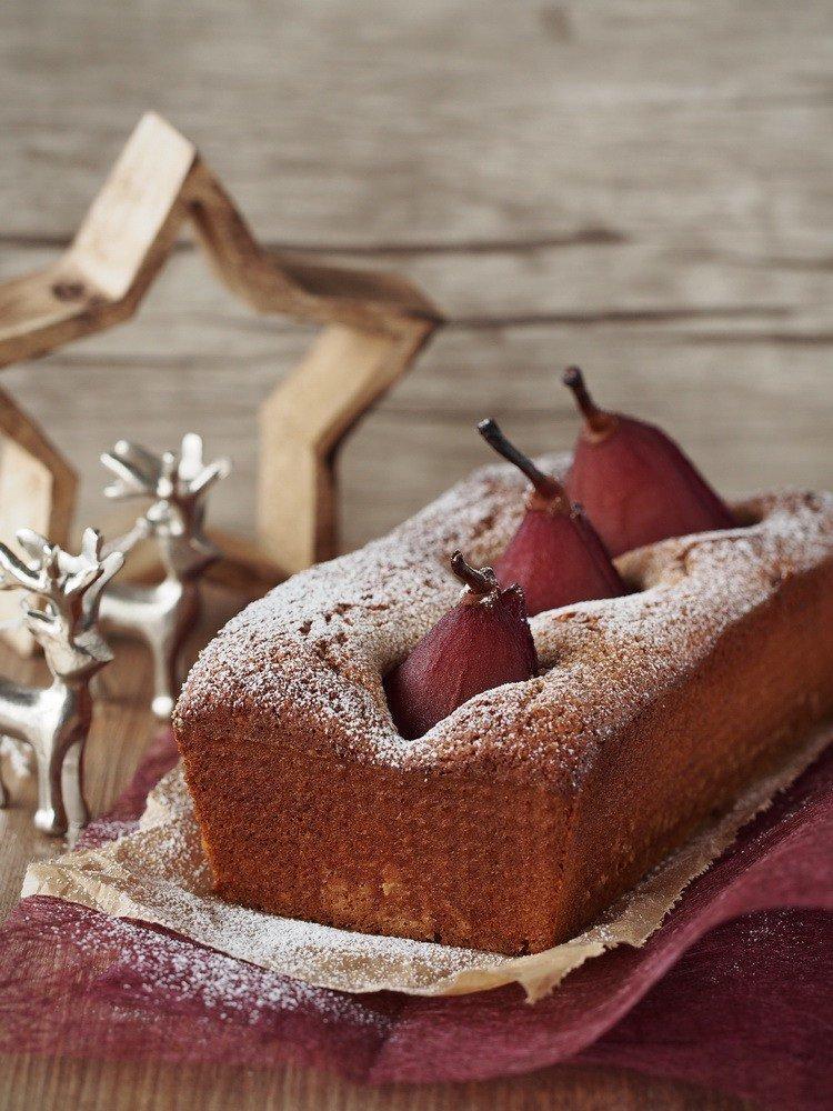 Rezept Zimt-Kuchen mit Rotwein-Birnen