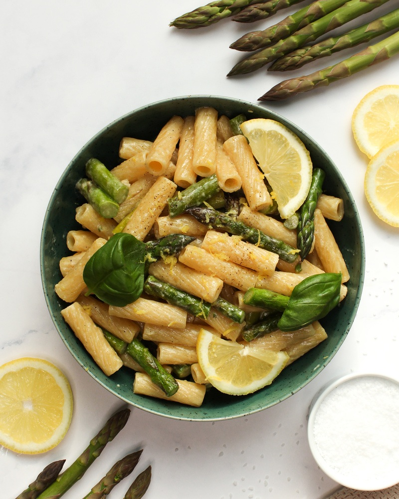 Rezept Zitronen Pasta mit grünem Spargel und Parmesan