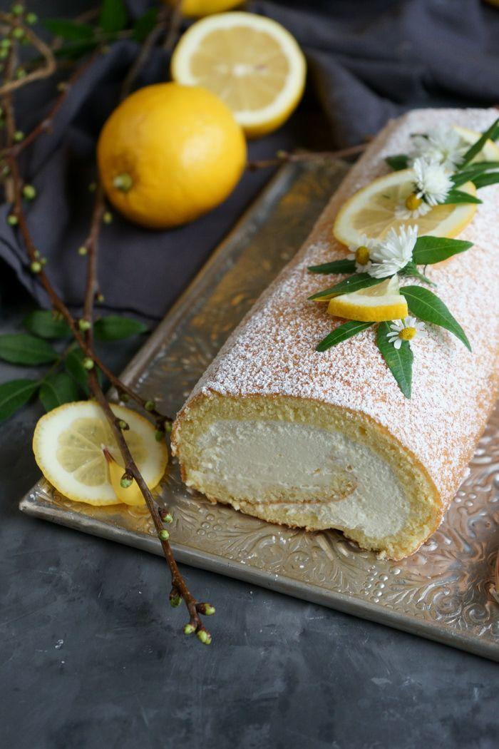 Rezept Zitronenbiskuitrolle mit Mascarpone-Sahne-Creme