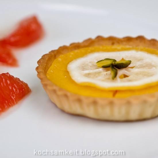 Rezept Zitronentarte, Blutorangensorbet und Grapefruit-Confit