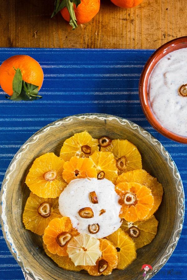 Rezept Zitrussalat mit Feigen und Haselnuss-Sahne-Creme