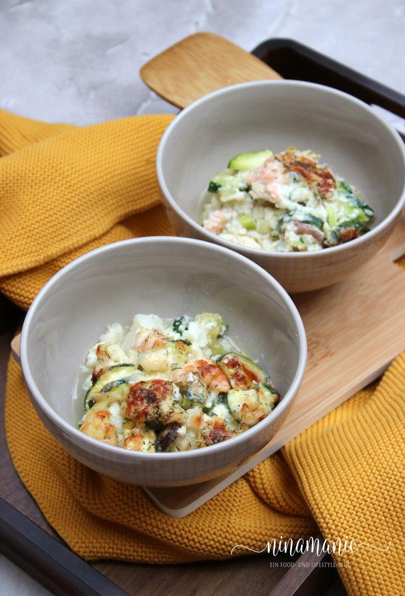 Rezept Zucchini-Blumenkohl-Lachs-Auflauf