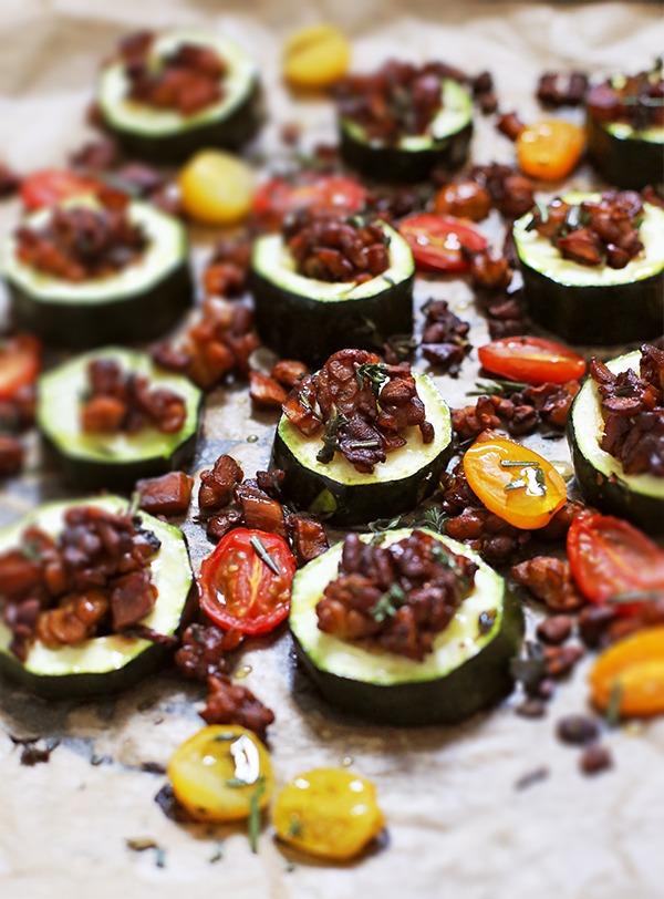 Rezept Zucchini mit Tempeh-Pilz-Füllung