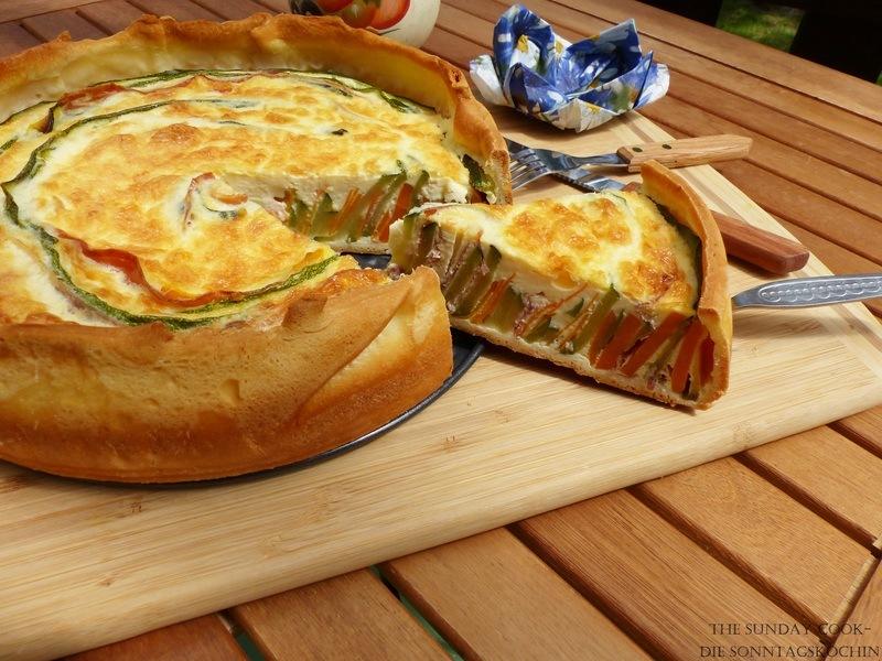 Rezept Zucchini-Möhren Quiche mit Schinken