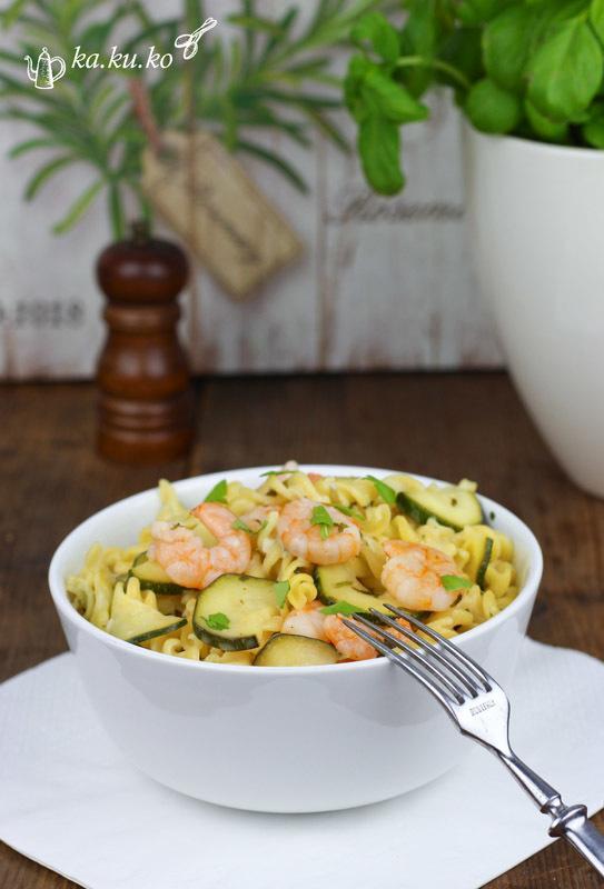 Rezept Zucchini-Pasta mit Garnelen