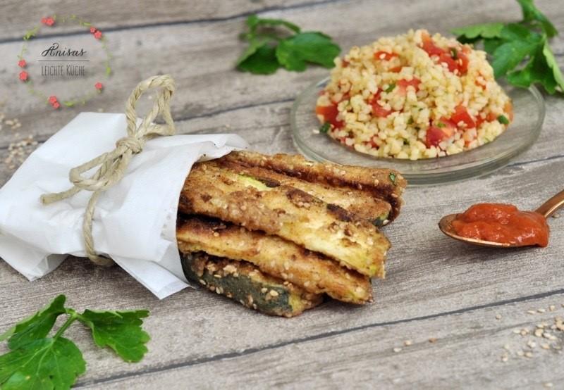 Rezept Zucchini-Sticks mit Bulgur-Salat