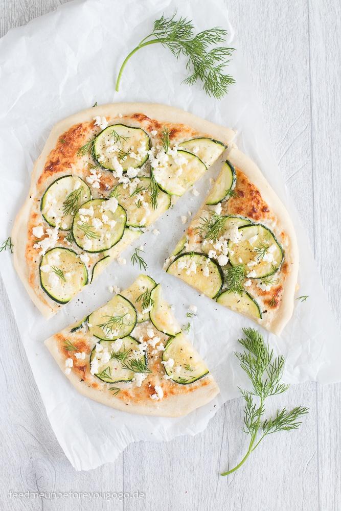 Rezept Zucchinipizza mit Dill und Feta