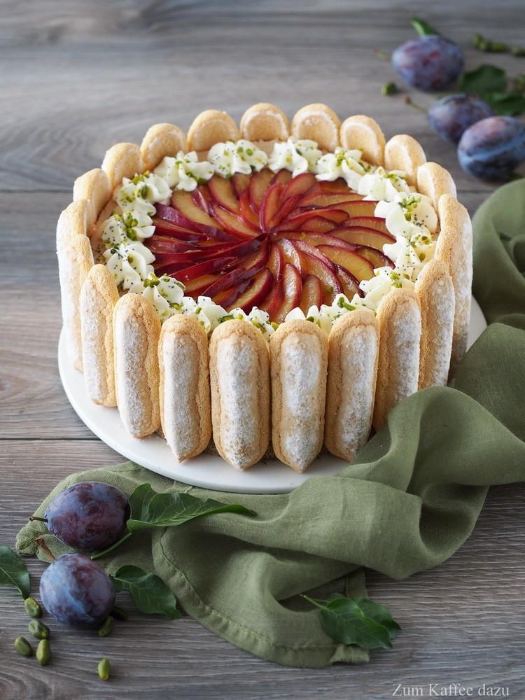 Rezept Zwetschgen-Torte mit Pistazien und Mohn