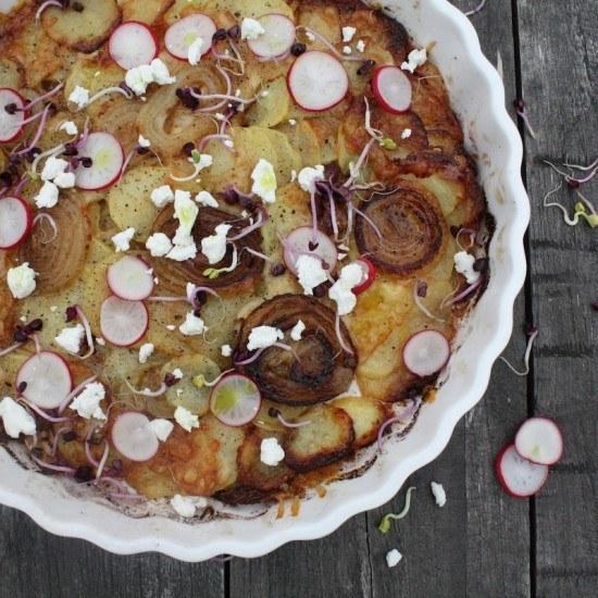 Rezept Zwiebel-Kartoffel-Tarte mit Bärlauchöl