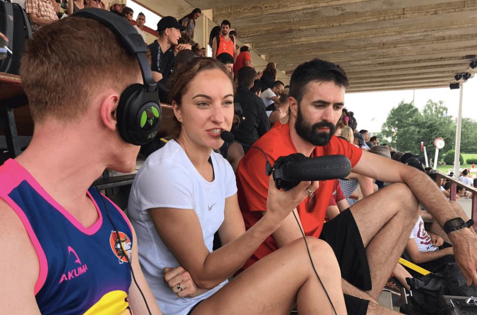 Scott Eburne in Geneva in 2018 with Emily Diamond and Martyn Rooney. Photo: Alex Seftel