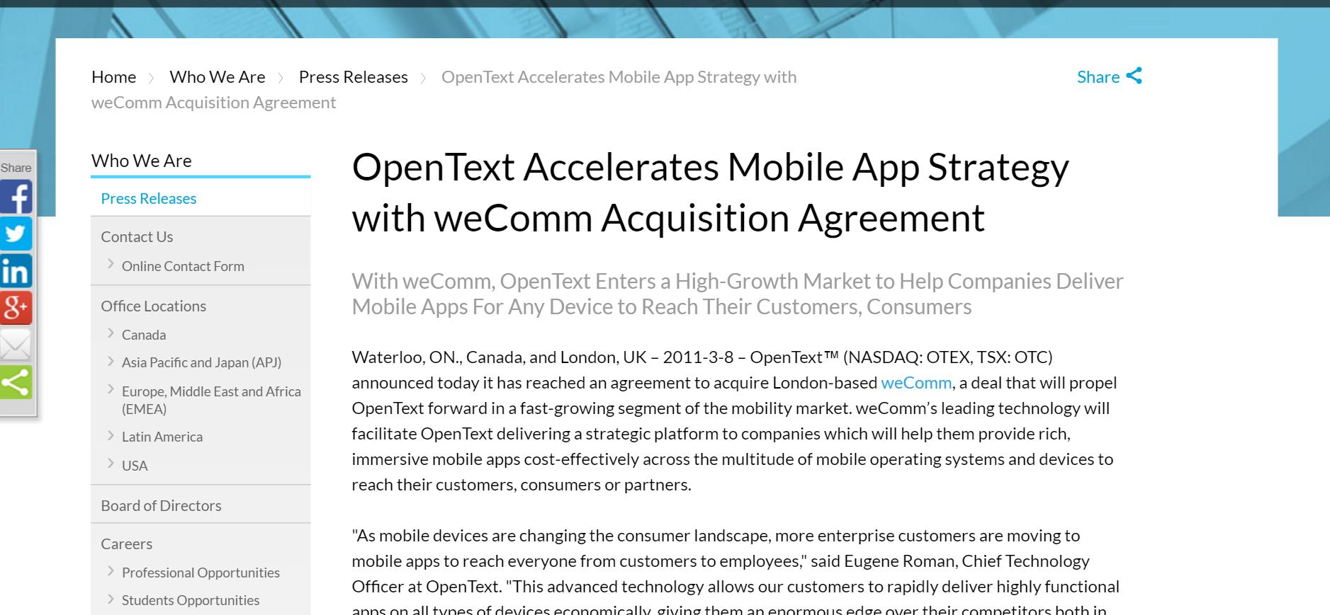 weComm, opentext