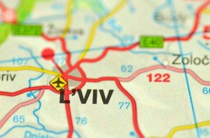 Lviv on a map