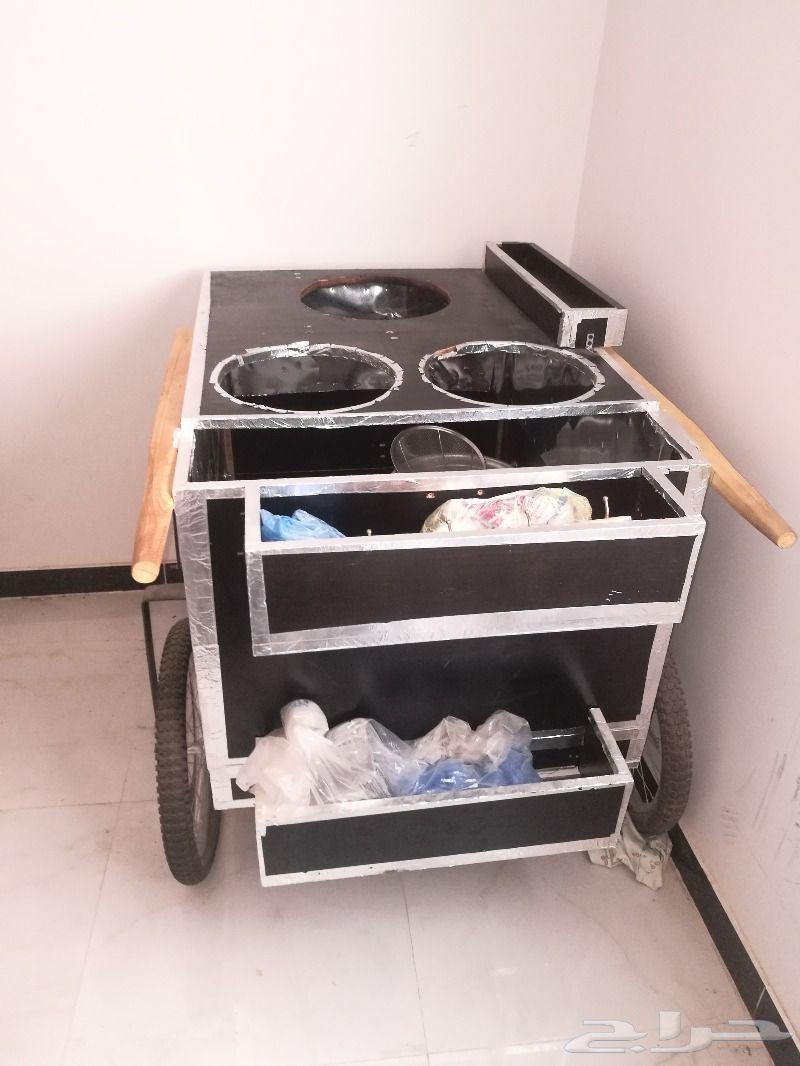 عربة بطاطس و ذرة مع مستلزماتها كاملة