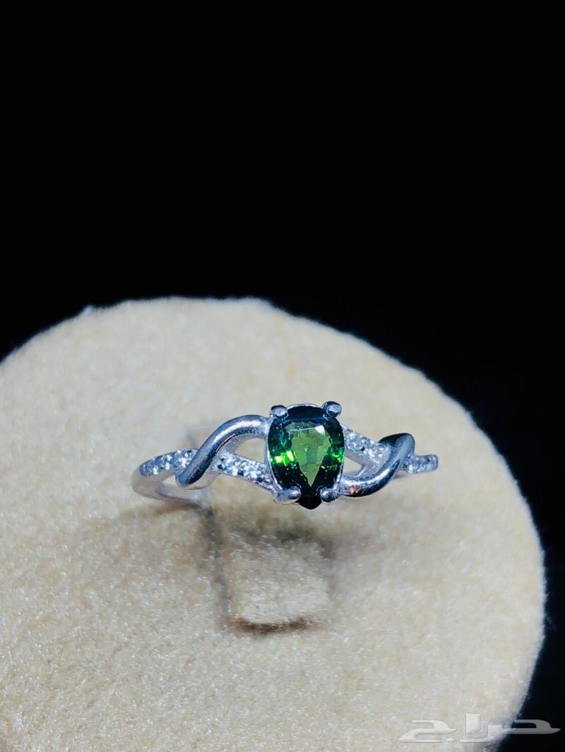 خاتم نسائي جميل حجر تورمالين طبيعي