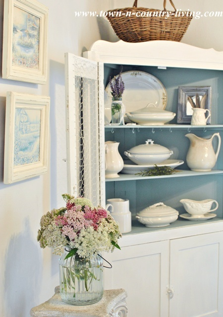 China Cabinet with White Ironstone via www.town-n-country-living.com