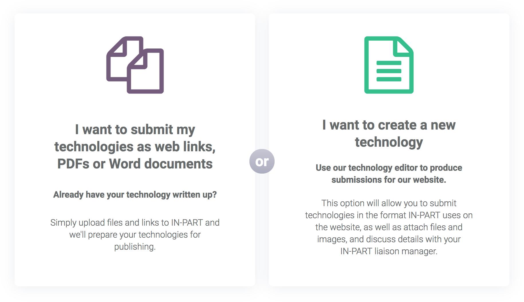 Screenshot of IN-PART's two upload methods