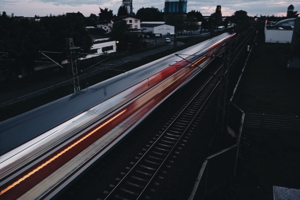 a fast-moving train