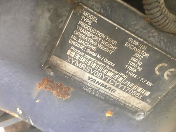 Immagine n. 3 - 4#3661 Mini escavatore Yanmar SV08