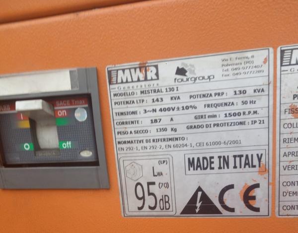 Immagine n. 2 - 33#3695 Generatore di corrente da 130 kva