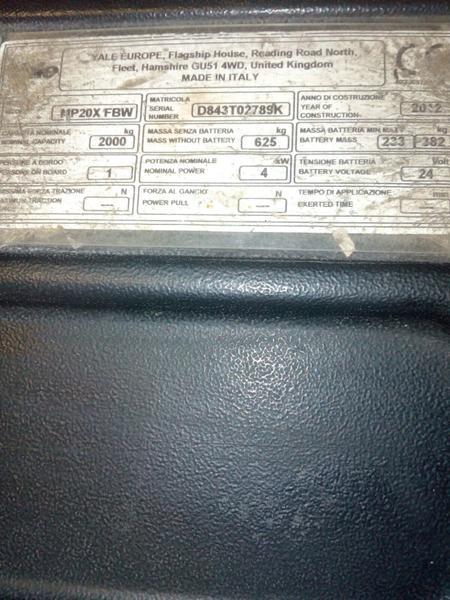 Immagine n. 2 - 5#3695 Transpallet elettrico Yale MP20X FBW 20 quintali