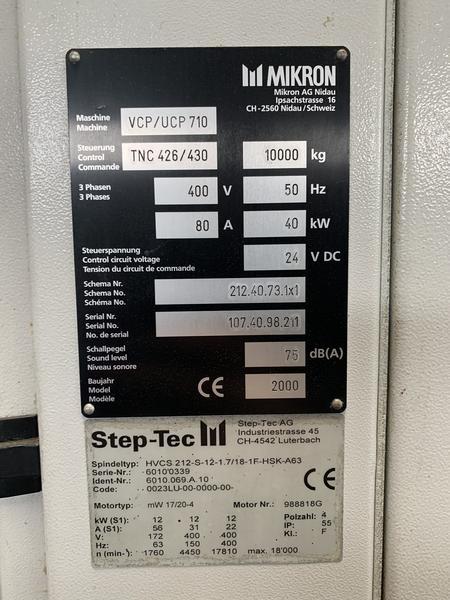 Immagine n. 10 - 1#4299 Centro di lavoro verticale a 5 assi Mikron UCP 710