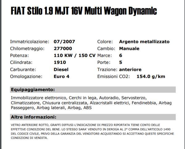 Lot Car Fiat Stilo 1.9 Mjt