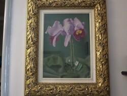 Dipinto soggetto Orchidea in vaso di vetro - Lotto 10 (Asta 5581)