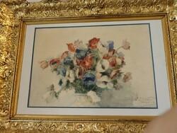 Dipinto soggetto fiori in vaso - Lotto 11 (Asta 5581)