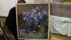 Painted subject flowers in vase - Lot 13 (Auction 5581)
