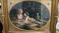 Dipinto soggetto pastorelli - Lotto 15 (Asta 5581)