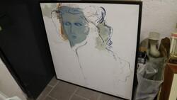 Dipinto soggetto ritratto abbozzato di donna - Lotto 18 (Asta 5581)