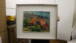 Dipinto soggetto paesaggio collinare con case - Lotto 19 (Asta 5581)