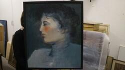 Dipinto soggetto ritratto di profilo di signora - Lotto 21 (Asta 5581)