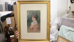 Dipinto ritratto di giovane donna - Lotto 23 (Asta 5581)