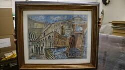 Dipinto soggetto monumenti e palazzi - Lotto 31 (Asta 5581)