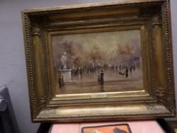 Dipinto soggetto passeggiata su viale parigino - Lotto 5 (Asta 5581)