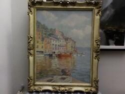 Dipinto soggetto Veduta di Portofino - Lotto 7 (Asta 5581)