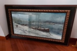 Barche sul Fiume Pescara  painting - Lot 13 (Auction 5623)