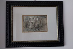 Tre Contadine In Cammino  painting - Lot 8 (Auction 5623)