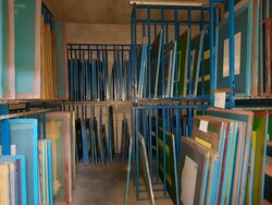 Glass screen printing frames and shelving - Lot 16 (Auction 5720)