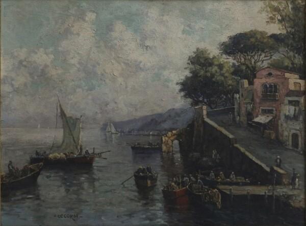 10#5936 Dipinto Veduta Di Porto in vendita - foto 1