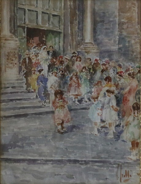 11#5936 Dipinto L'Uscita Degli Sposi in vendita - foto 2