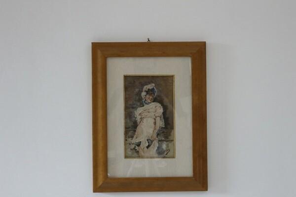 13#5936 Dipinto Donna Con Cappello in vendita - foto 1
