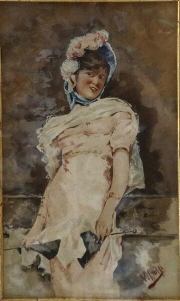 13#5936 Dipinto Donna Con Cappello in vendita - foto 2