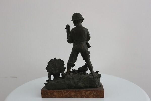 248#5936 Statuina Contadinello Con Tacchini in vendita - foto 4