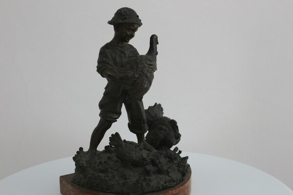 248#5936 Statuina Contadinello Con Tacchini in vendita - foto 6