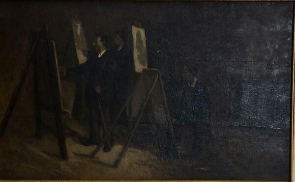 28#5936 Dipinto Pittori Al Cavalletto in vendita - foto 1