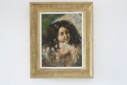 Dipinto Ritratto Di Una Piccola Ragazza Dai Capelli Scuri - Lotto 51 (Asta 5936)